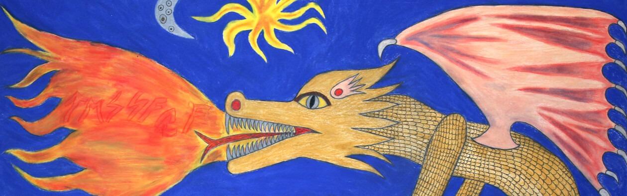 Ein gemalter Drachenkopf